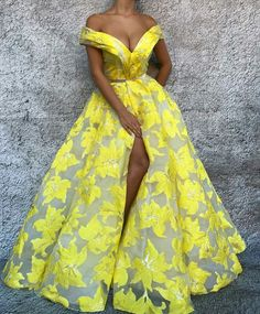 Off the Shoulder V Neck Prom Dresses 2018 Long Arabic Yellow Embroidery Printed Prom Gown African Print Dresses, African Fashion Dresses, African Dress, Ankara Fashion, Fashion Skirts, African Prints, African Style, African Fabric, V Neck Prom Dresses