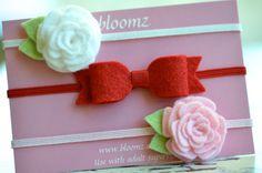 Felt Bow Headband and Tiny Felt Flowers Headband Gift por bloomz