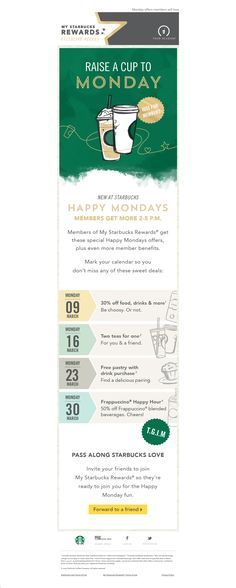 Starbucks email - I like the bottom graphics for their calendar view!