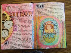CharonP in her art journal using the Balzer Designs Punchinella and Triangle Stencils!