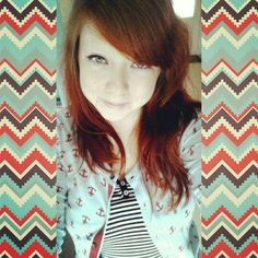 (Bethany Richardson) #ombre #redhead #fakecolor #realcolor #dyed #cute #red #cateyes #makeup #anchors #hair #Trichotillomania