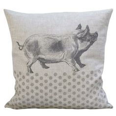 Pig & Polka Dot on Stone Linen Cushion