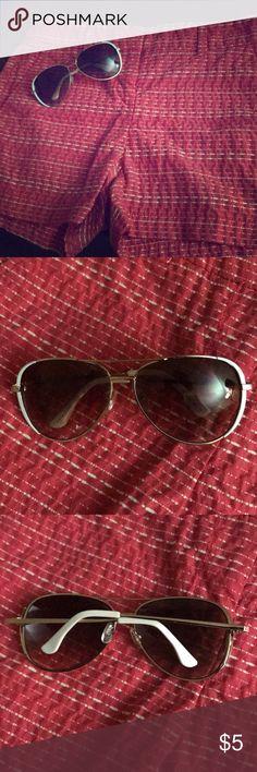Loft sunglasses Never worn. Aviator style sunglasses from Loft. Has white/gold rims frames. LOFT Accessories Sunglasses