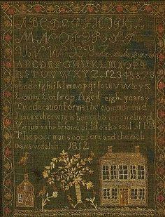 needlework sampler by Louise Lothrop, Massachusetts.   dated 1812