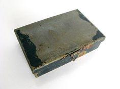 Vintage Mini Metal Box Black Metal Stash Box Jewelry Box by Sfuso