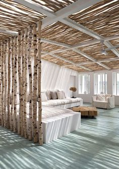 birch tree walls.. oh my ! Cocktails and no children any one ? sign me up here for at least days .....