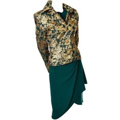 Preowned Jean-louis Scherrer Numbered Boutique Vintage Silk Dress Gold... ($895) ❤ liked on Polyvore featuring dresses, multiple, green cocktail dress, evening dresses, holiday dresses, silk cocktail dress and green dress