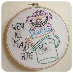"""6"""" Alice in Wonderland- Embroidery Hanging Hoop"""