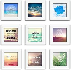 Amazon.com - XUFLY 9Pcs 4x4 Real Glass Wood Frame White Square, Fit Family Image Pictures Photo (Window 3.6x3.6 inch), Desktop Stand On Wall Family Combine Motivational Quote Sea Decoration (10 Set Pictures) (28) - Multi Picture Photo Frames, Best Photo Frames, Floating Picture Frames, 8x10 Picture Frames, Picture On Wood, Wood Shadow Box, Shadow Box Frames, Family Tree Frame, Photo Window