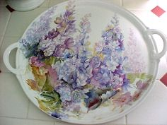 China Platter with Delphiniums Handpainted