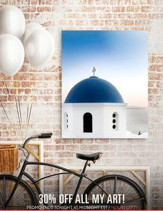 Discover «Santorini White and Blue Church View», Limited Edition Acrylic Glass Print by Sofia Katsikadi - From 95€ - Curioos