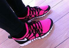 #wholesalefreerun  #hot pink and black, #nike #running #shoes #ladies,#free #runs