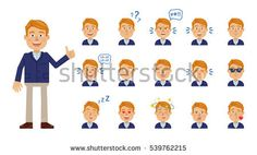 Big set of businessman emoticons. Blonde businessman avatars showing different facial expressions. Happy, sad, smile, laugh, cry, surprised, in love, angry and other emotions. Flat vector illustration