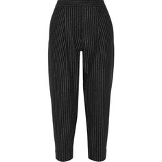 DKNY Cropped pinstriped wool-blend tapered pants (435 CHF) ❤ liked on Polyvore featuring pants, capris, bottoms, pantalones, trousers, calça, black, zipper trousers, pinstripe trousers and button pants