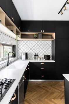 The 39 Best Black Kitchens - Kitchen Trends You Need To SeeYou can find Black kitchens and more on our website.The 39 Best Black Kitchens - Kitchen Trends You Need To See Home Kitchens, Kitchen Design Small, Modern Kitchen Interiors, Kitchen Inspiration Design, Kitchen Decor Trends, Home Decor Kitchen, Kitchen Room Design, Kitchen Style, Modern Kitchen Design