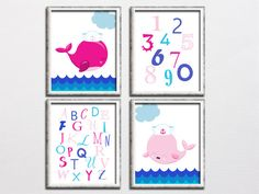 Baby whale printable alphabet and numbers by HappyPrintCreations