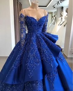 046ca81a7b Royal Blue Satin Strapless Long Sleeve Beaded V Neck Prom Dress