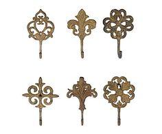 Set de 6 percheros de forja Antique – bronce