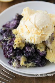 Lemon Blueberry Dump Cake is an easy summer dessert that everyone loves! Fresh blueberries and cream are topped with lemon cake mix and baked until hot and bubbly for a delicious end to any meal. ©CentslessMeals Pin it to your DESSERTS board to SAVE it for later! Follow Centsless Meals on Pinterest for more great …