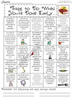 Early Finisher activities - Put this in a ziplog bag and make one for each student as an early finish go to assignment. Have them keep the assignments in the ziplog bag for safe keeping. When they complete a row, column, or diagonal REWARD!