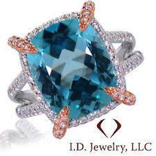 14K altın 8.90CTW Mavi Topaz & Diamond Ring