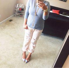 Blush pink destroyed boyfriend jeans