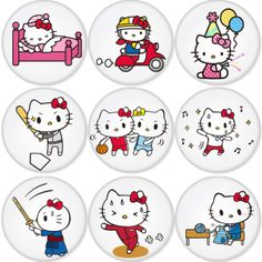 "HELLO KITTY 1.75"" Badges Pinbacks, Mirror, Magnet, Bottle Opener Keychain http://www.amazon.com/gp/product/B00BW8L9E0"