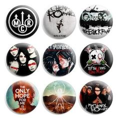 My Chemical Romance MCR Pinback Buttons Pin Badges 1 Inch - Pack of 9 Button Badge, Band Merch, Pin And Patches, Green Day, My Chemical Romance, Pin Badges, My Idol, Just In Case, Geek Stuff