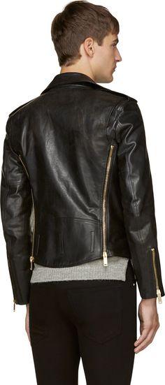 Alexander McQueen Black Leather Gold Zipper Lapel Biker Jacket