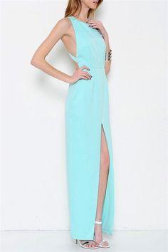 Out Of Eden Open Back & Slit Maxi Dress - Mint