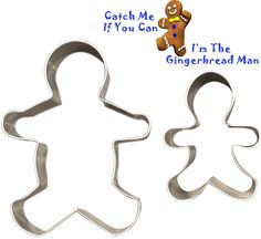 Gingerbread Man Cookie Cutters - Set of 2 Multipurpose Cutters, One 5-inch, One 3-inch -- See this great image @ : Baking Accessories