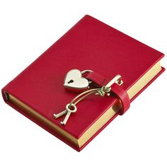 Graphic Image Small Locked Leather Journal - Red (240 BRL) ❤ liked on Polyvore featuring home, home decor, stationery, books, fillers, accessories, items and red