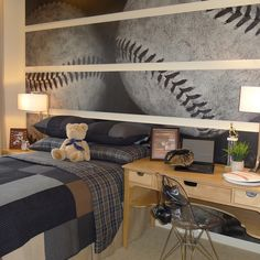Boys Baseball Room Design Ideas, Pictures, Remodel, and Decor.  Really cute room. What a cool idea! Soccer!!!