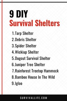 These 9 DIY survival shelters could just save your life when the sun is getting low and you're out of luck! #survivalshelter #DIYsurvivalshelter #survivalskills #survivaltips #survival #survivallife Survival Hacks, Survival Life, Wilderness Survival, Camping Survival, Survival Prepping, Emergency Preparedness, Survival Skills, Tarp Shelters, Outdoor Shelters