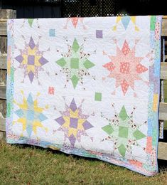 Franklin Star pattern by Julie Cefalu at the The Crafty Quilter - 72 x 95 - blocks - made and quilted by Audrey Crawford in Star Quilt Patterns, Star Quilts, Scrappy Quilts, Patchwork Quilting, Baby Quilts, Missouri Star Quilt Pattern, Free Baby Quilt Patterns, Vintage Quilts Patterns, Denim Quilts