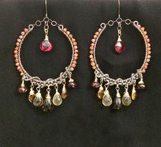 Luxury Bohemian Gemstone Hoop Earring Oxidized by DoolittleJewelry
