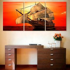 E-HOME® Stretched Canvas Art Sail The Sea Decoration Painting Set of 3 – EUR € 69.99