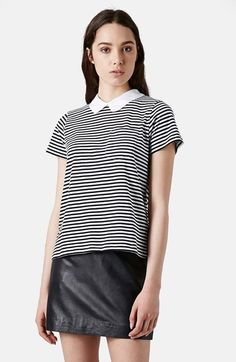 Free shipping and returns on Topshop Stripe Print Collared Tee at Nordstrom.com. A white Peter Pan collar tops this Parisian-chic striped tee adorned with a chest pocket and an adjustable ribbon tie at the back.