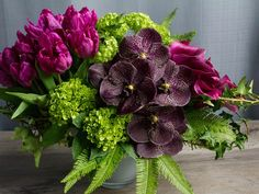 Rich shades of purple, violet and plum: 'Amethyst Garden' by Winston Flowers. Beautiful Bouquet Of Flowers, Beautiful Flowers, Wedding Flowers, Floral Centerpieces, Floral Arrangements, Flower Arrangement, Table Flowers, Flower Vases, Winston Flowers