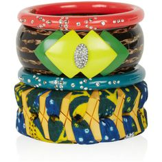 Lulu Frost Set of four bamboo and resin bangles ($315) ❤ liked on Polyvore