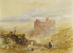 Joseph Mallord William Turner 'Harlech Castle', c.1834 - Watercolour on paper -  Dimensions Unconfirmed: 356 x 482 mm -  © Private Collection, USA.