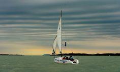 Sunset sailing at lake Balaton Sailboat, Hungary, Sailing Ships, Statue Of Liberty, Sunset, Travel, Beautiful, Sailing Boat, Statue Of Liberty Facts