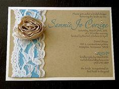 Lace Bridal Shower Invitation.