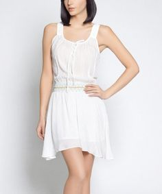 Another great find on #zulily! White Lila Sidetail Peasant Dress - Women by So Nice Collection #zulilyfinds