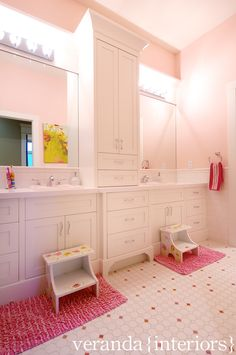 Pale pink in the girls' bath - this is very close to their current set up