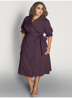 Boulangerie Wrap Dress in Merlot Grape Curvy Outfits, Stylish Outfits, Fashion Outfits, Plus Size Dresses, Plus Size Outfits, Vetements Clothing, Mature Women Fashion, Mode Plus, Full Figured Women