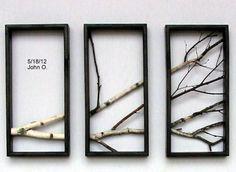 Birch Branch Wall Hanging Triptych,Original Art, Rustic Art, 3d wall Art.. $190.00, via Etsy.