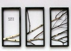 Birch Branch Wall Hanging Triptych,Original Art, Rustic Art, 3d wall Art.. $190.00, via Etsy.