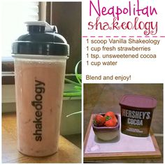 Neapolitan Shakeology Recipe. Just a hint of chocolate and vanilla, but it's all strawberry goodness! 21 Day Fix approved Vanilla Shakeology recipe.