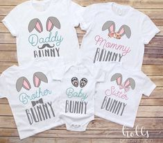 Funny Thanksgiving Shirts, Funny Christmas Shirts, Easter Shirts For Boys, Shirts For Girls, Easter 2021, Family Tees, Baby Bunnies, Baby Size, Baby Outfits